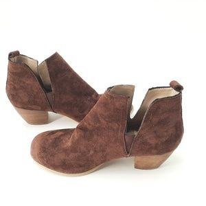 Torrid brown v cut side booties 10 wide